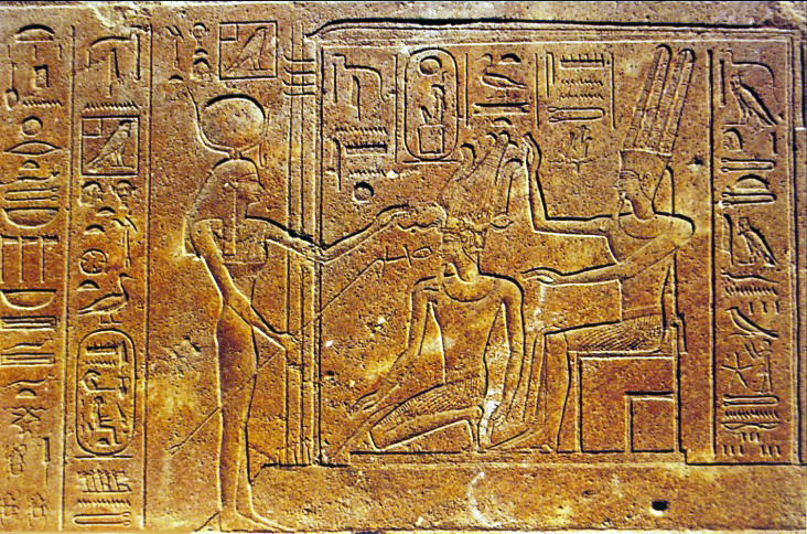 Hatshepsut in the company of Amun and Hathor.