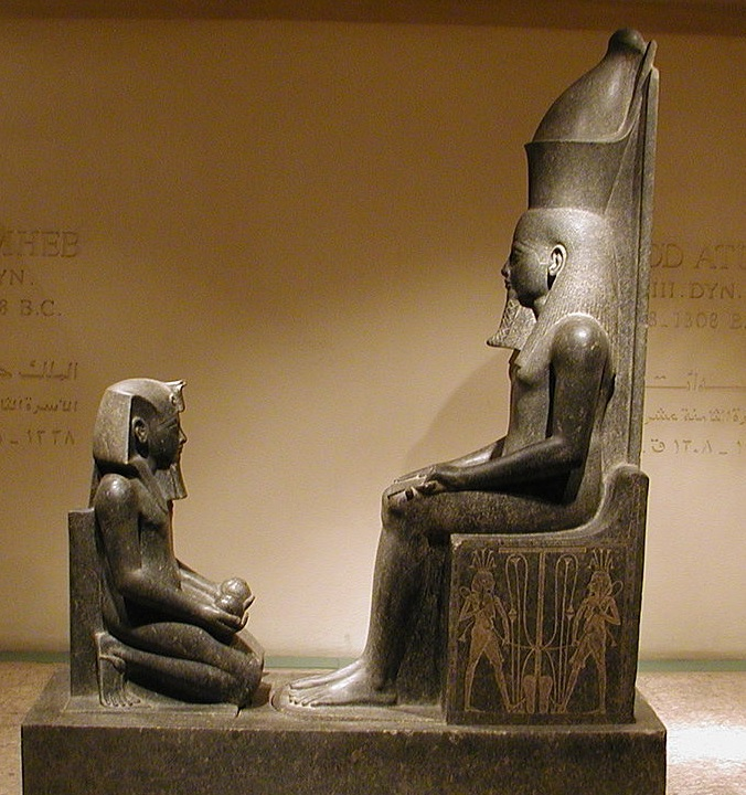 Horemheb kneeling before Atum