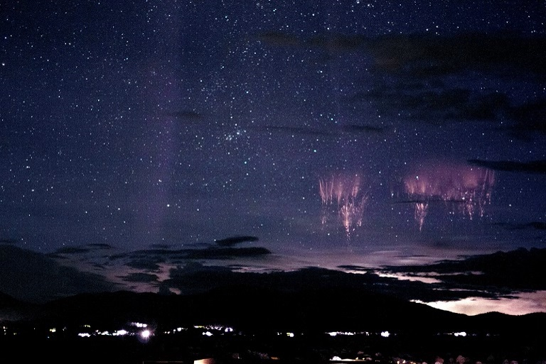 Sprites over Colorado look like divine flowers.