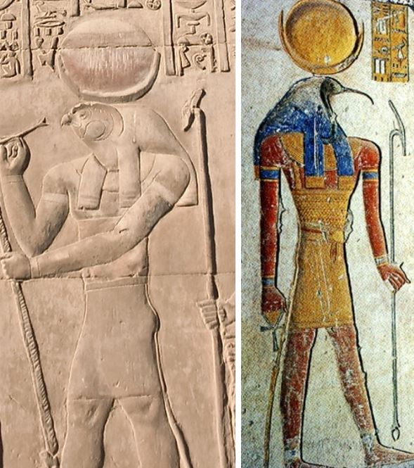 Ancient Egyptian Moon gods Thoth and Khonsu. Two satellites of Earth.