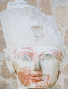 Hatshepsut's flesh painted a distinctly vibrant red