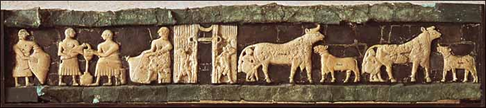 Milking scenes from the Temple of Ninhursag, - Tell al Ubaid, c. 2400 B.C.