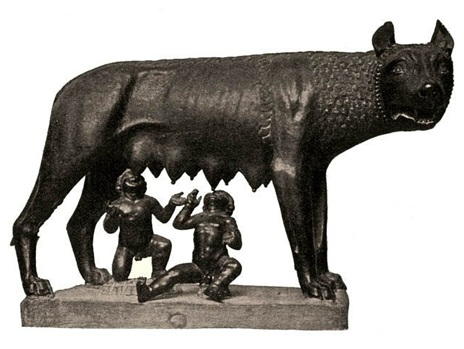 She-wolf suckling Romulus and Remus